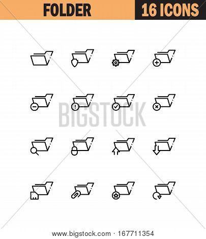 Folder flat icon set. Collection of high quality outline symbols for web design, mobile app. Folder vector thin line icons or logo.