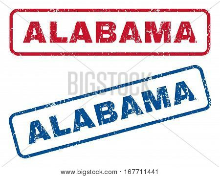 Alabama text rubber seal stamp watermarks. Vector style is blue and red ink tag inside rounded rectangular banner. Grunge design and scratched texture. Blue and red signs.