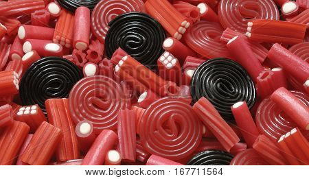 Licorice candy and mix black and red colors