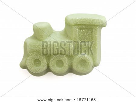 Gummy train green, isolated on a white