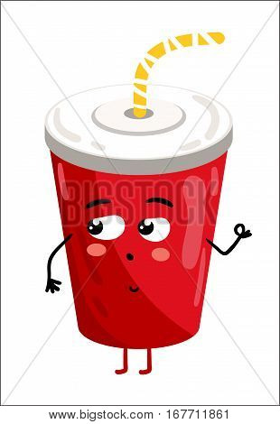 Cute take away plastic glass with straw cartoon character isolated on white background vector illustration. Funny sweet drink emoticon face icon. Worried cartoon face, comical cola soda cup mascot