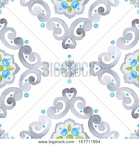 Watercolor filigree seamless pattern moroccan ornament. Delicate pastel openwork lace pattern. Soft gray blue and green revival tracery design.
