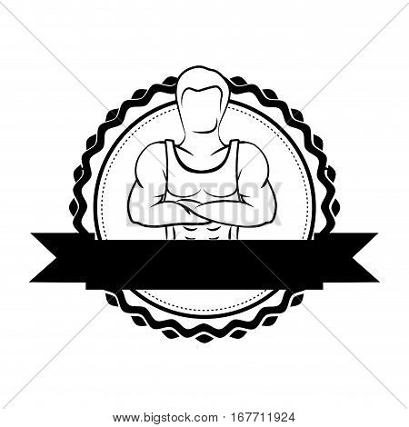 silhouette sticker border with muscle man crossed arms and label vector illustration