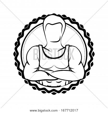 silhouette sticker border with muscle man crossed arms vector illustration