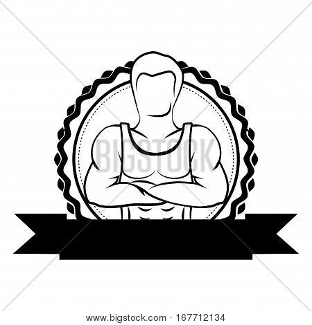 black sticker border with muscle man crossed arms and label vector illustration