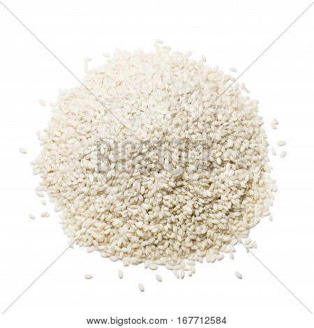 heap of white rice on white background