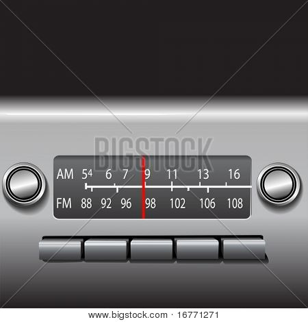 AM FM Car Dashboard Radio: Easily set the red indicator (layer) to change stations.