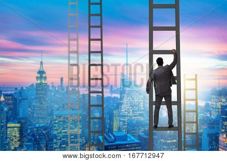 Young businessman climbing career ladder