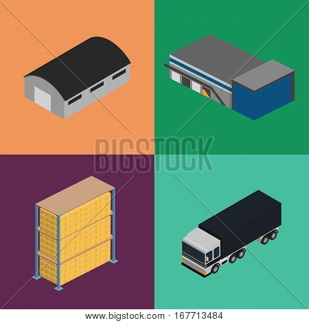 Warehouse logistics isometric icon set isolated vector illustration. Freight truck, boxes on shelves and warehouse building icons. Freight delivery company, cargo transportation, logistics shipment
