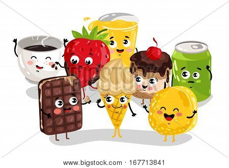 Cute sweet food and drink cartoon character set isolated on white background vector illustration. Funny cookies, ice cream, cola soda, coffee cup emoticon face icon. Happy cartoon comical face food
