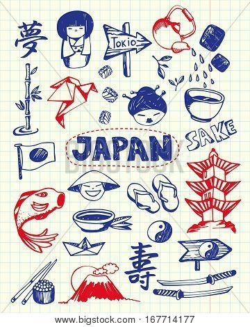 Japan associated symbols. Japanese national, cultural, architectural, culinary, nature, historical, religious related hand drawn doodles vector set. Sketched asian icons