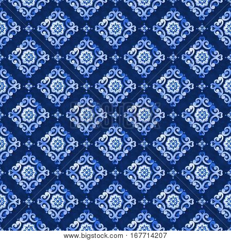 Watercolor abstract royal blue seamless pattern moroccan tiling ornament. Delicate filigree openwork lace pattern. Blue velvet revival tracery design. Winter stylized snowflakes background