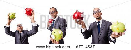 Businessman with piggybank on white