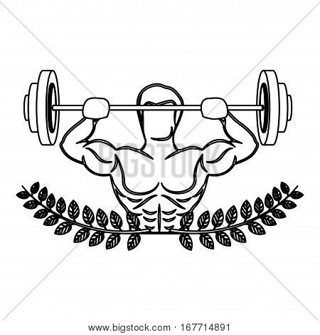 contour ornament leaves with muscle man lifting a disc weights vector illustration