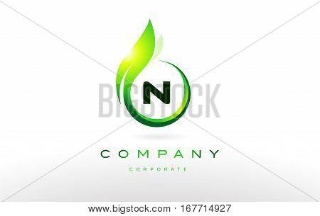 n alphabet letter green leaf circle vector logo icon sign design template