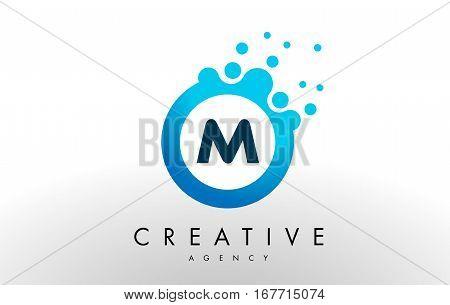m Dots Letter Logo. Blue Bubble Design Vector Illustration.