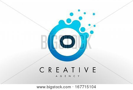 o Dots Letter Logo. Blue Bubble Design Vector Illustration.