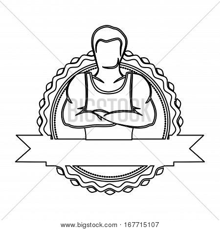 contour sticker border with muscle man crossed arms and label vector illustration