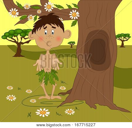 Vector illustrated cartoon helpless African kid under a tree.