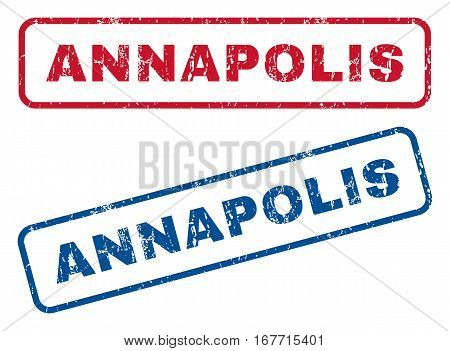Annapolis text rubber seal stamp watermarks. Vector style is blue and red ink caption inside rounded rectangular banner. Grunge design and unclean texture. Blue and red signs.