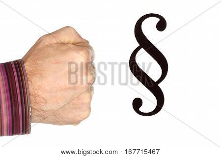 fist and paragraph symbol on white background