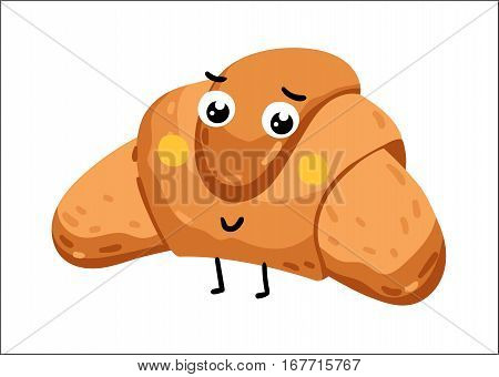 Cute croissant cartoon character isolated on white background vector illustration. Funny positive and friendly bakery pastry emoticon face icon. Happy smile cartoon face food, comical croissant mascot