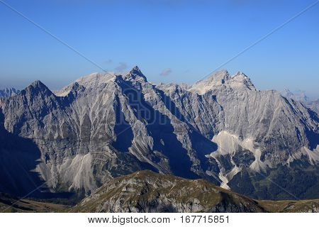 austrian mountains on a beautiful summer morning