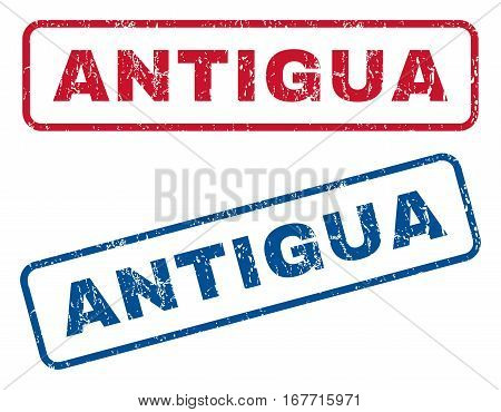 Antigua text rubber seal stamp watermarks. Vector style is blue and red ink tag inside rounded rectangular banner. Grunge design and scratched texture. Blue and red stickers.