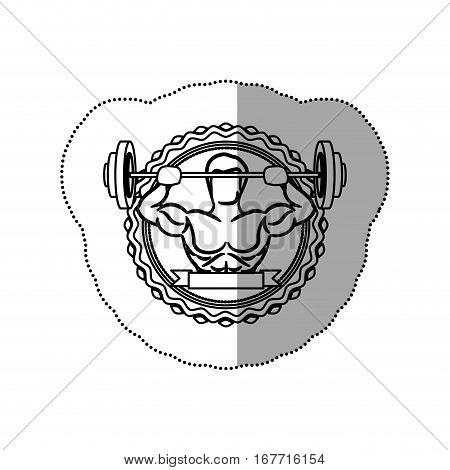 contour sticker border with muscle man lifting a disc weights and label shading vector illustration