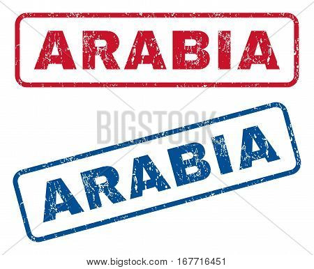 Arabia text rubber seal stamp watermarks. Vector style is blue and red ink caption inside rounded rectangular shape. Grunge design and scratched texture. Blue and red emblems.