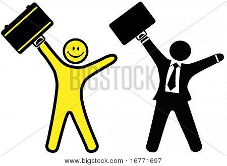 A smiley happy face & business man in a suit & tie raise briefcases to celebrate success.