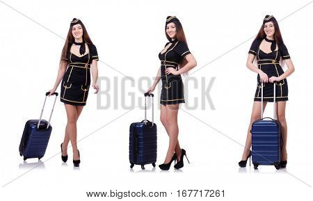 Woman travel attendant with suitcase on white