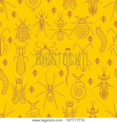 Seamless pattern of red linear pest insects and damaged leaves on yellow background. Parasitic beetle concept. Perfect for exterminator service companies. Vector illustration.