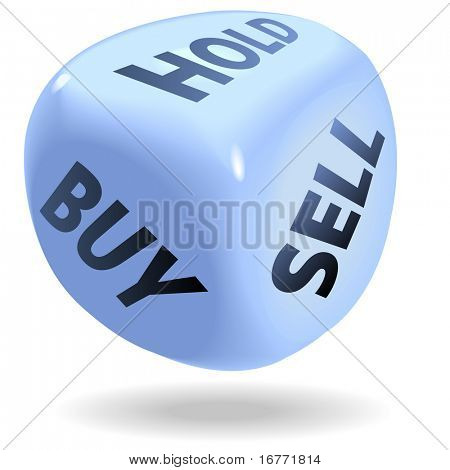 증권 거래의 주사위 상징 파란, 시장 롤 구매, 판매 또는 개최.
