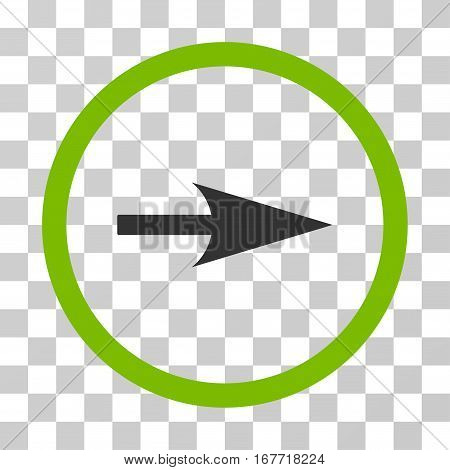 Arrow Axis X rounded icon. Vector illustration style is flat iconic bicolor symbol inside a circle eco green and gray colors transparent background. Designed for web and software interfaces.