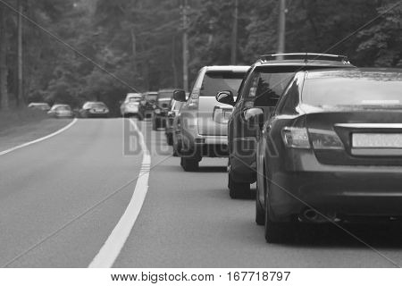 Traffic Jam On The Country Road, Black-and-white Image