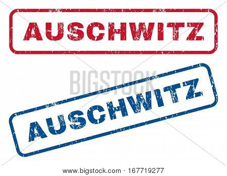 Auschwitz text rubber seal stamp watermarks. Vector style is blue and red ink caption inside rounded rectangular shape. Grunge design and dust texture. Blue and red signs.