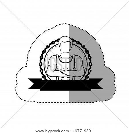 contour sticker border with silhouette muscle man crossed arms and black label vector illustration
