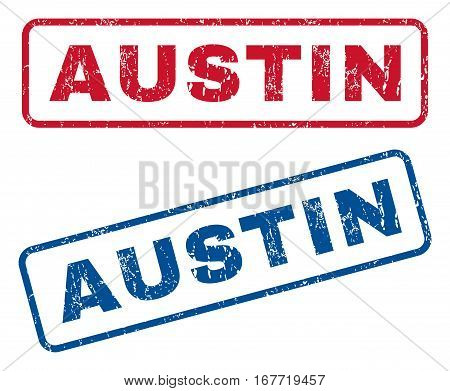 Austin text rubber seal stamp watermarks. Vector style is blue and red ink tag inside rounded rectangular banner. Grunge design and dirty texture. Blue and red signs.