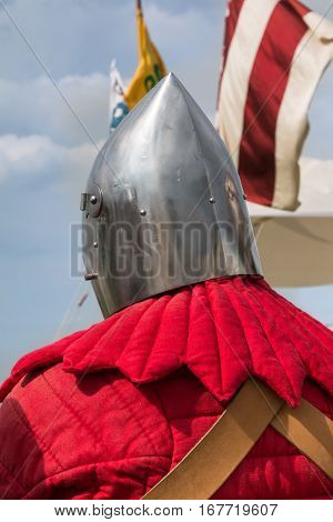 Close up of Knight's Silver Helmets: Medieval Event Reconstruction