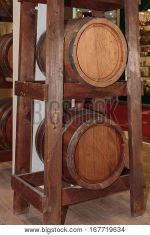 Two Big Oak Wooden Barrels