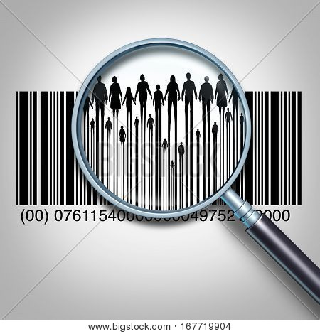 Customer search and searching for client data or purchaser information business concept as a magnifying glass focused on a retail product bar code showing people and the public buyers as a 3D illustration.