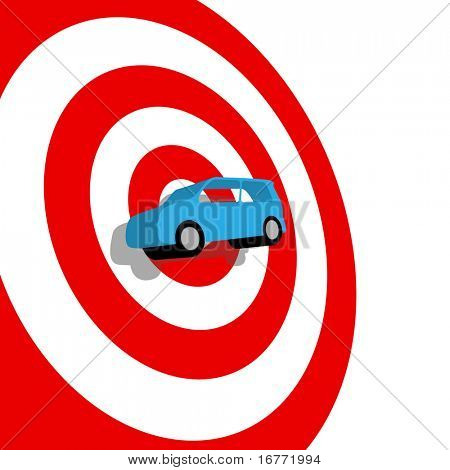 Car Buying: a blue used or new auto on the bulls eye of a red target, with drop shadow.