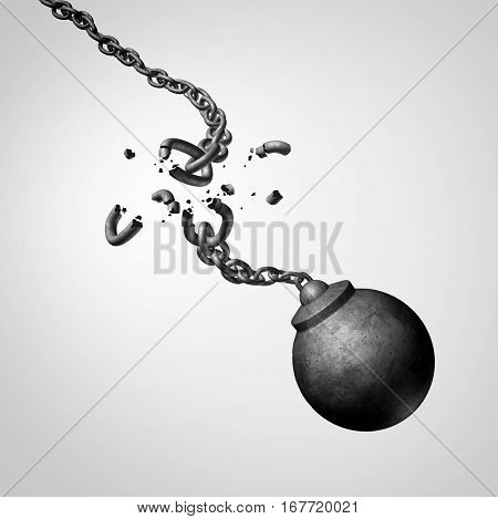 Chaos and risk business concept as a broken chain holding a falling dangerous wrecking ball as a volatility metaphor for erratic disorganization and weakness or work safety issues as a 3D illustration.