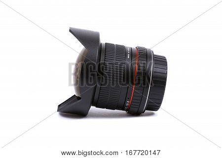 Kyiv, Ukraine - February 28, 2016:  Samyang 8Mm F/3.5 Umc Fish-eye Cs Ii Ae  Lens For  Dslr Nikon Ca