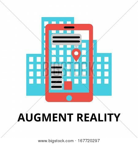 Modern flat editable vector line icon of future technology - augment reality for graphic and web design