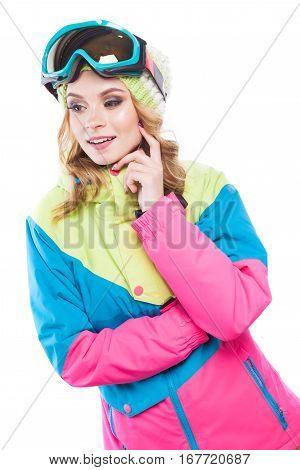 Blonde Woman In Snowboard Suite Hand On Cheek