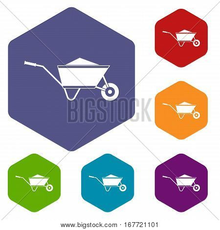 Wheelbarrow with sand icons set rhombus in different colors isolated on white background