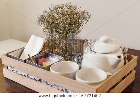 Tea Set in a Wooden Box With Flower Vase