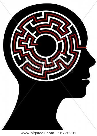 A circle radial maze puzzle as a brain in a profile person's head.